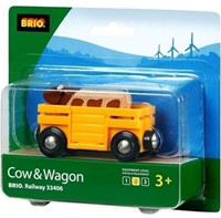 Brio Holz Eisenbahnwaggon Tierwagen mit Kuh 33406 -2