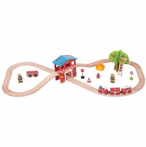 BigJigs Feuerwehrstation Eisenbahn Set