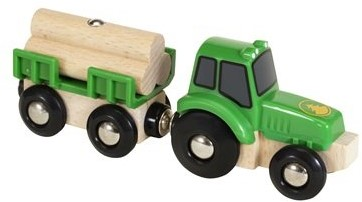 Brio Holz Eisenbahn Zubehör Traktor mit Holzanhänger 33799