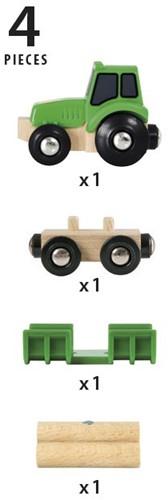 Brio Holz Eisenbahn Zubehör Traktor mit Holzanhänger 33799-2