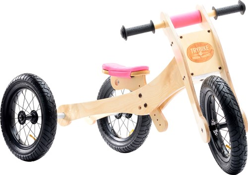 Trybike  Holz Laufrad 4-in-1 Rosa